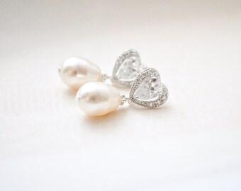 Teardrop Pearl Bridal Earrings, Pearl Teardrop Earrings, Pearl Wedding Earrings