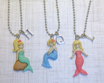 Mermaid Necklace With Initials,Girls Jewelry,Mermaid Necklace,Initial Necklace,Childrens Necklace, Childrens Jewelry,Kids/Toddler Necklace