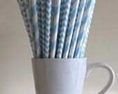 Blue Paper Straws Powder Light Blue Pastel Blue Striped, Chevron, Polka Dot Party Supplies Party Decor Bar Cart Accessories Graduation Party