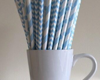 Blue Paper Straws Powder Light Blue Pastel Blue Striped, Chevron, Polka Dot Party Supplies Party Decor Bar Cart  Party Graduation