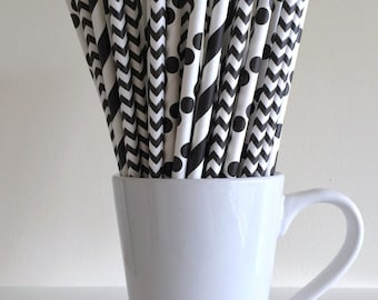 Black Paper Straws Striped, Chevron, Polka Dot Party Supplies Party Decor Bar Cart Cake Pop Sticks Mason Jar Straws  Graduation
