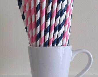 Pink and Navy Paper Straws Pink Navy Blue Striped Gender Reveal Party Supplies Party Decor Bar Cart Cake Pop Sticks Graduation Graduation