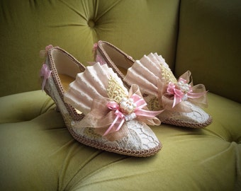 Marie Antoinette Heels Shoes Rococo Baroque Fashion Costume Pink Satin Fawn Beige Ivory Lace Gold Pearls 18th Century Versailles Wedding