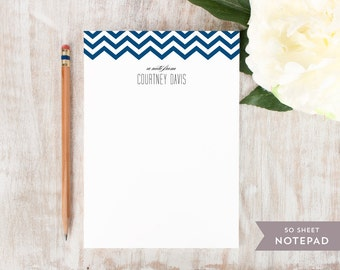 Personalized Notepad - CHEVRON TOP  - Stationery / Stationary Notepad - Chevron stripe personal modern notes