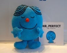 Hand Knitted Mr Perfect Soft Toy with Paperback Book - Learning Resource - Ready to Ship!