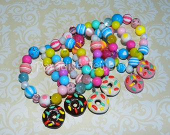 Donut Party Favors, Chunky Doughnut Bubblegum Bead Bracelet Donut Birthday, Girls Party Favor, Child Size, Kids Donut Party