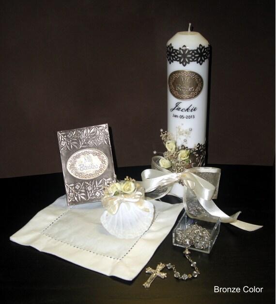 Set de vela para bautizo personalizado por jcembossing en etsy - Velas decoradas para bautizo ...