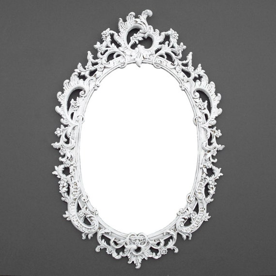 Sale ornate oval vintage syroco mirror by thecherryattic for Plastic baroque mirror