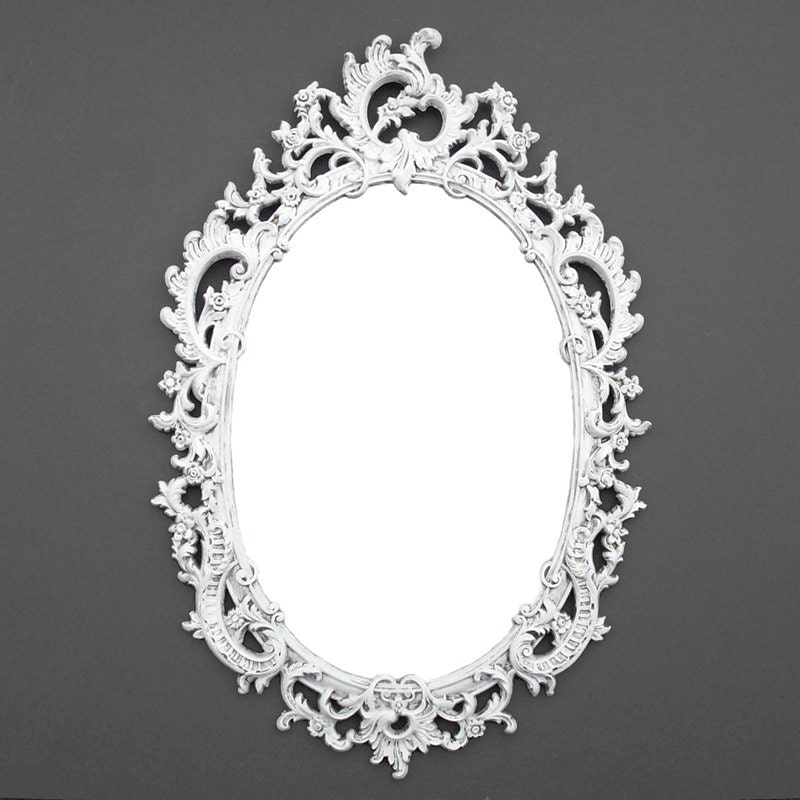 sale ornate oval vintage syroco mirror distressed white. Black Bedroom Furniture Sets. Home Design Ideas