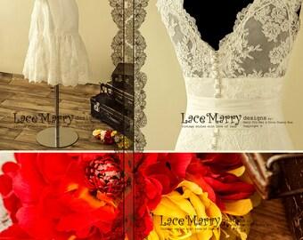Enchanting Short Wedding Dress, Fit and Flare Short Wedding Dresses, Deep V Neckline Lace Wedding Dress, Short Lace Wedding Dresses