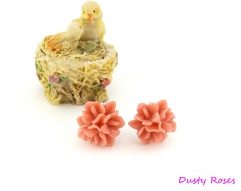 Mori Forest Girl Salmon Tiny Clipon Stud Earrings, CLIP or POST,  Small Dusty Rose Flower Tussie Mussie Autumn Fall Jewelry