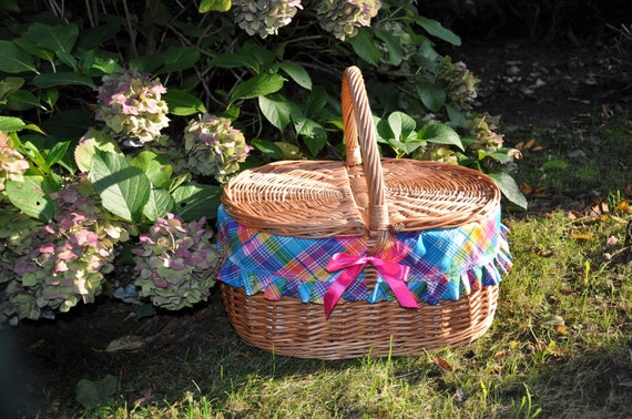 picnic basket,personalized basket, gift for wedding, hand woven basket ...