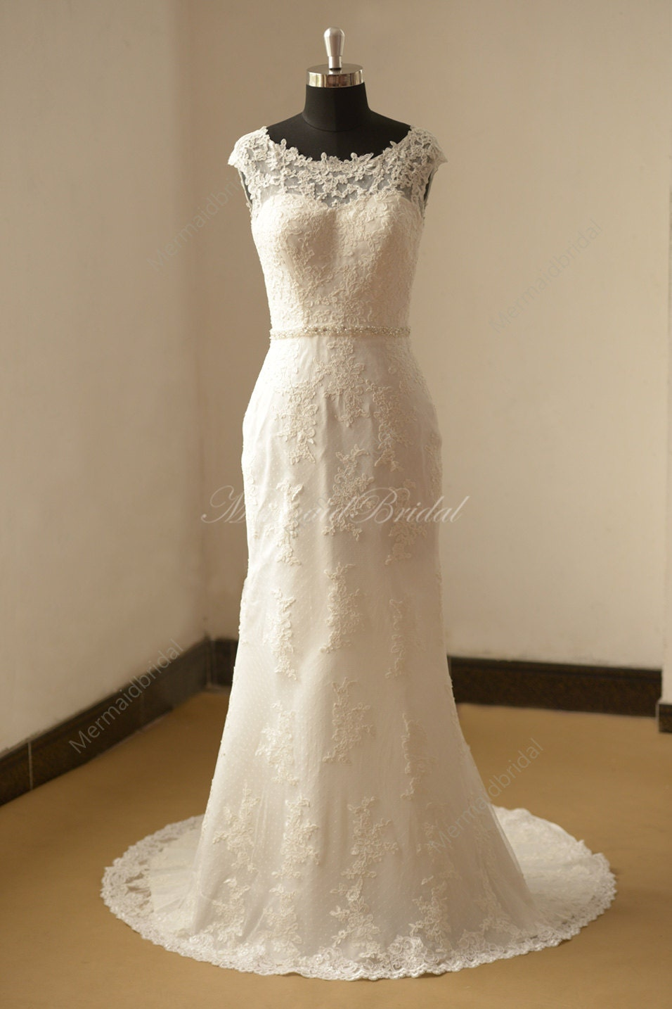 Open back fit and flare vintage lace wedding dress with for Fitted lace wedding dress with open back