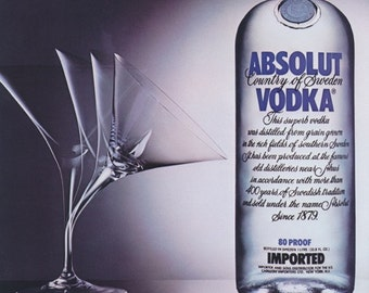 """1988 Absolut Vodka Ad """"Absolut Attraction"""" Martini Glass Photo Vintage Advertising Bar Wall Art Print"""