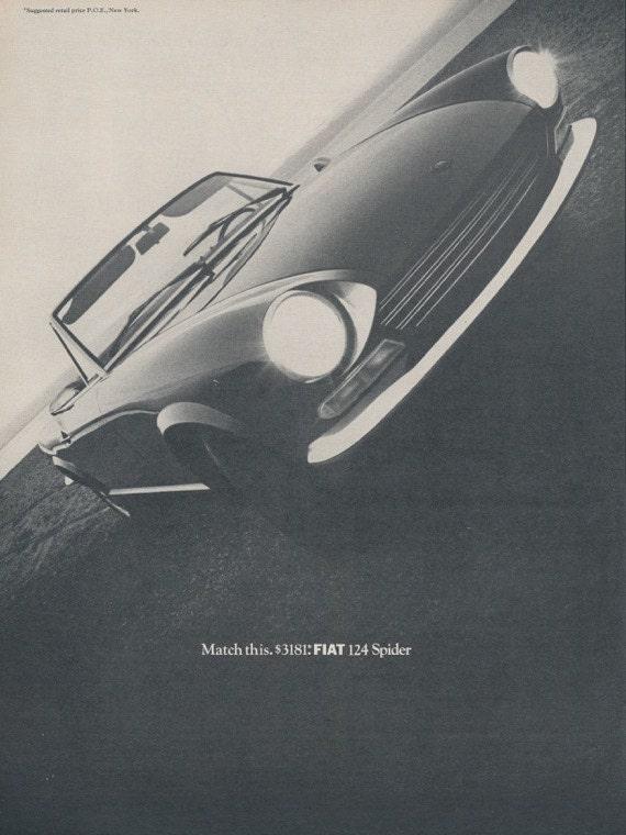 1968 fiat 124 spider car photo ad vintage advertising black. Black Bedroom Furniture Sets. Home Design Ideas