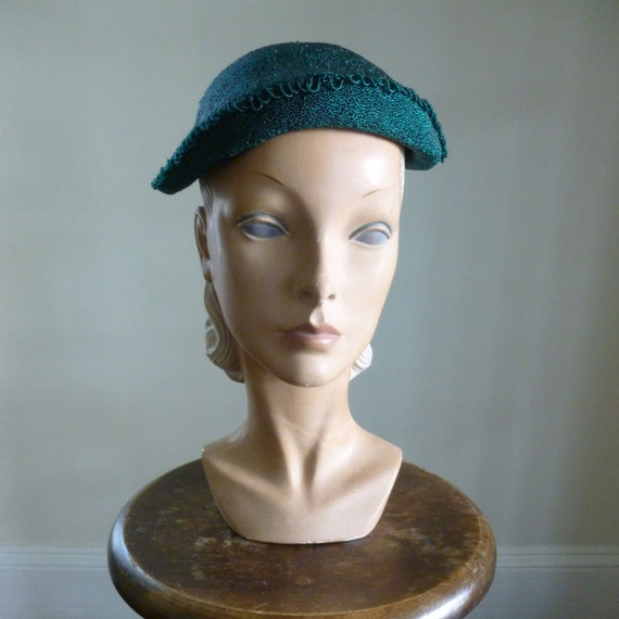 40s 50's Beaded Green Hat Cocktail