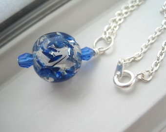 Cobalt Blue Jewelry - Resin Jewelry - Resin Necklace - Blue Necklace - Royal Blue Jewelry - Blue Fleck Necklace - Sapphire Blue Necklace