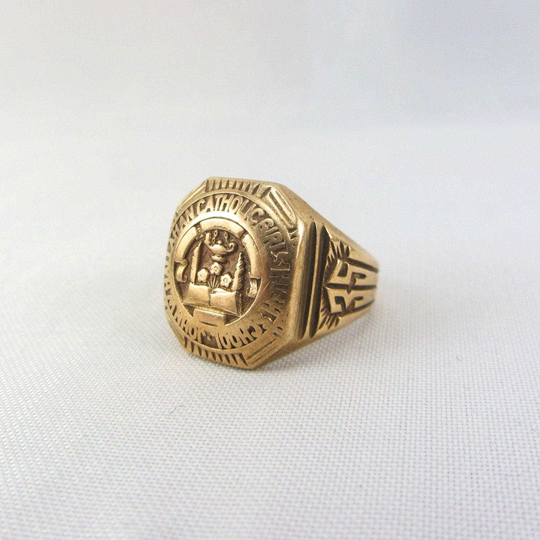 Antique 10K Gold Class Ring Signet High School Art Deco Era