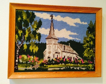 70's / Hand Crafted Needlepoint /Maple Wood  Framed Country White Church /  Wall Hanging Dated 1977