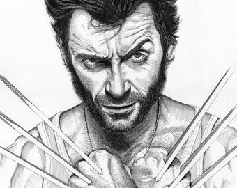 Wolverine Hugh Jackman Portrait Print