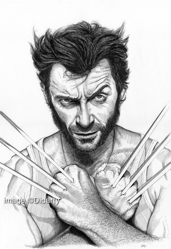 Wolverine hugh jackman portrait stampa - Dessin wolverine ...