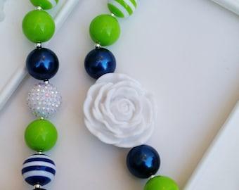 Adult Seahawks inspired Rose necklace, Seahawks jewelry, Seahawks chunky jewelry