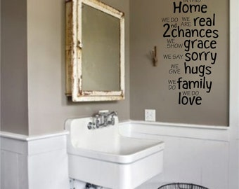 In this home we do Wall art, wall decal, wall quote, vinyl lettering, vinyl wall quote in this home we do