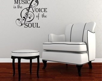 Music is the voice of the soul Vinyl Wall Quote Decal Wall Words Wall art Vinyl Lettering Vinyl Decal Music is the voice of the soul
