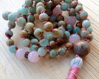 108 Beads African Blue Opal Mala Beads  Peruvian Blue Rose Quartz Stress Relief Devotional October Birthstone