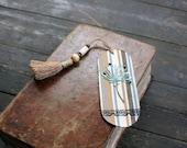 "Handmade bookmark, textile bookmark, stripes bookmark, vintage look bookmark with handmade tassel: ""Quiet time"""