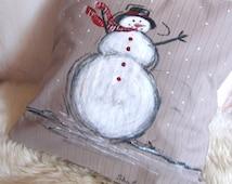 Snowman pillow Hand Painted Snowman pillow Christmas pillow cover Gray Christmas Handmade Primitive Christmas Gift New Year Kids Christmas