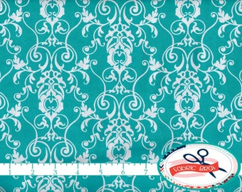 AQUA DAMASK Fabric by the Yard, Fat Quarter CHERISH Scroll Fabric Aqua & White Fabric 100% Cotton Fabric Quilting Fabric Apparel Fabric a1-8