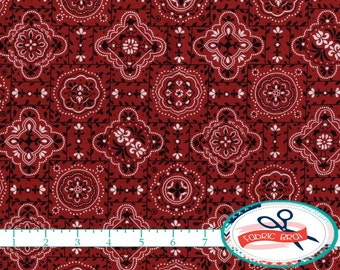 RED BANDANA Fabric by the Yard, Fat Quarter Dark Red BANDANNA Fabric Cowboy Fabric Apparel Fabric Quilting Fabric 100% Cotton Fabric t4-26