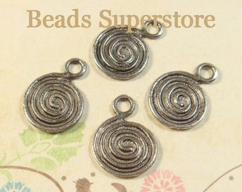 18 mm x 13 mm Antique Silver Two Sided Round Swirl Charm / Pendant - Nickel Free, Lead Free and Cadmium Free - 10 pcs (CH56)