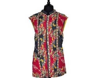 KANTHA Waistcoat - X Large size - Red and black. Reverse mustard and green