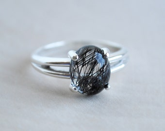 Tourmalinated Quartz Ring - Black Rutilated Quartz Ring - Oval Sterling Silver Ring