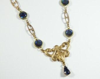 Art Nouveau Style Blue Necklace, Brass and Swarovski Elements Collar Necklace, Romantique Short Flower Necklace