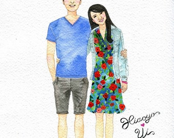 Custom portrait, Anniversary, wedding gift, birthday gift, Custom Couple Portrait,  illustration , Drawing, Wedding gift, Wall art.