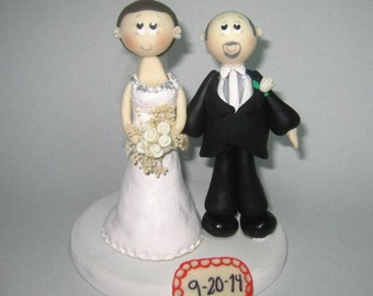 Wedding cake topper, bald groom