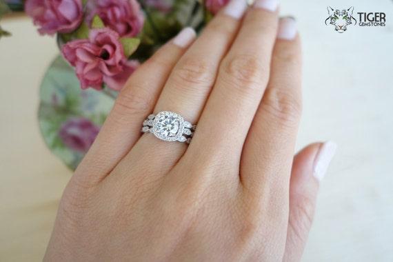 3 band 125 carat halo wedding set vintage inspired bridal rings flawless man made - Three Band Wedding Ring
