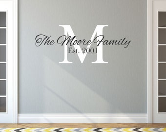 Family Name Vinyl Wall Decal, Large Custom Decal Personalized Family Name and Date, Vinyl Lettering, Family Wall Decal