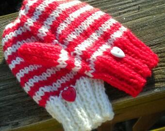 Mittens Hand Knit Children's Mittens Washable Merino Wool Mismatched Children's Mittens (SM) Red & White Striped Heart Button Kid's Mittens