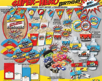 Instant Download! SUPERHERO Birthday Party Decorations-Nonpersonalized, SUPERHERO Party Decorations,Superhero Party Package,Super Hero Party