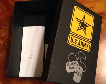 Army Soldier Keepsake Box for Letters and Gifts - Deployment, Basic Training, Dog Tags, Military Family, Protect and Serve, Letter Box