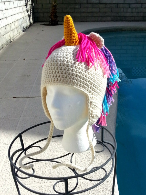 UNICORN crochet hat, CHILD HAT, Crochet hat, Fun hat, Halloween ...