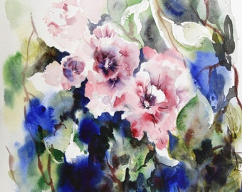 Abstract Floral Watercolor Painting, Original Painting, Watercolour Art