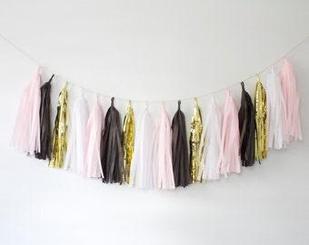Blush Pink and Black Tassel Garland - Pink and Black Party Decor, Pink and Black Tassel Garland, Blush and Black Bridal Shower