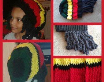 Childs Crocheted JAMAICAN RASTA BEANIE with Dreads Pattern