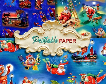 SANTA  LIFE  -  3 SHEETs Printable wrapping paper for Scrapbooking, Creat - Download and Print