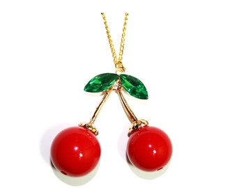 Cherry Red Cute Charm Gold Chunky Necklace